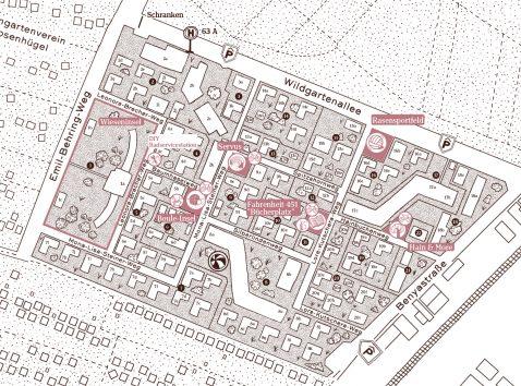 Karte des Wildgarten mit Quartiersplätze